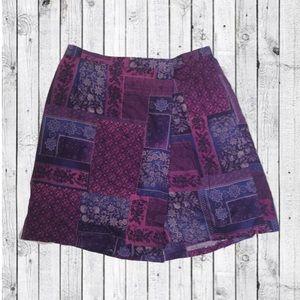 Purple Floral Wrap Skort